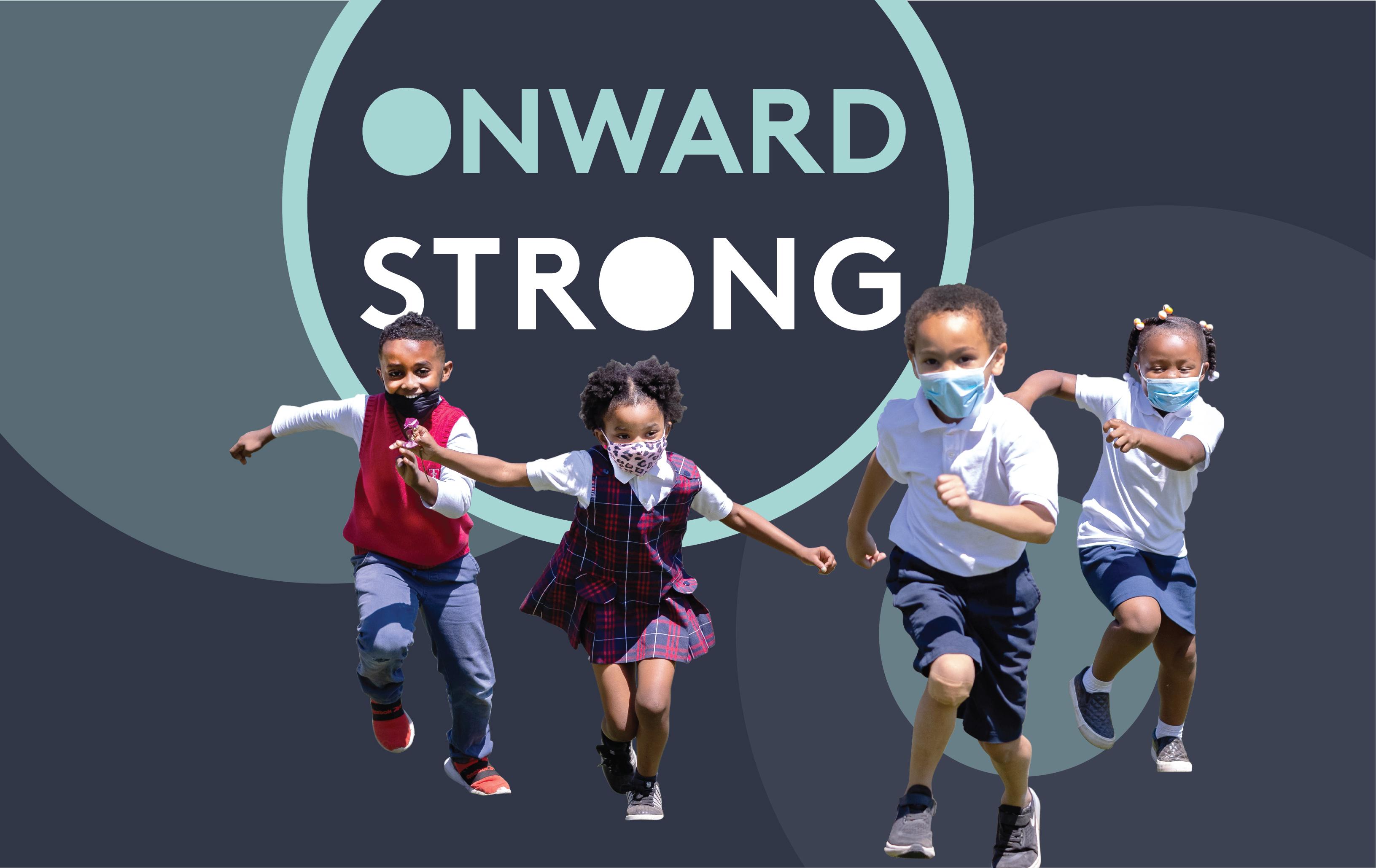Onward Strong logo with kids running